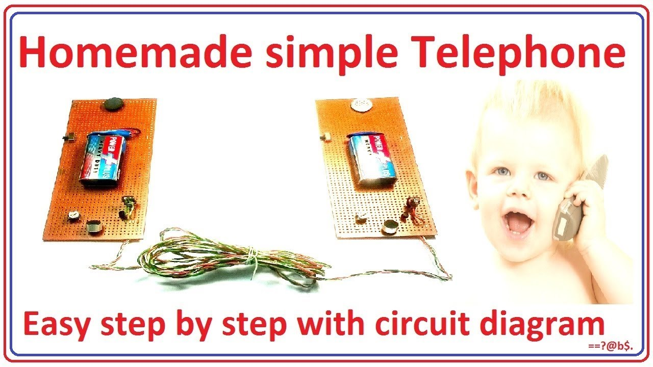 how to make telephone easy at home step by step with circuit diagram [ 1280 x 720 Pixel ]