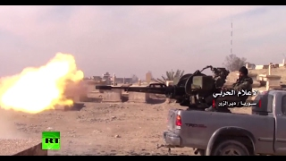 RAW  Syrian military fights ISIS militants in Deir el Zour