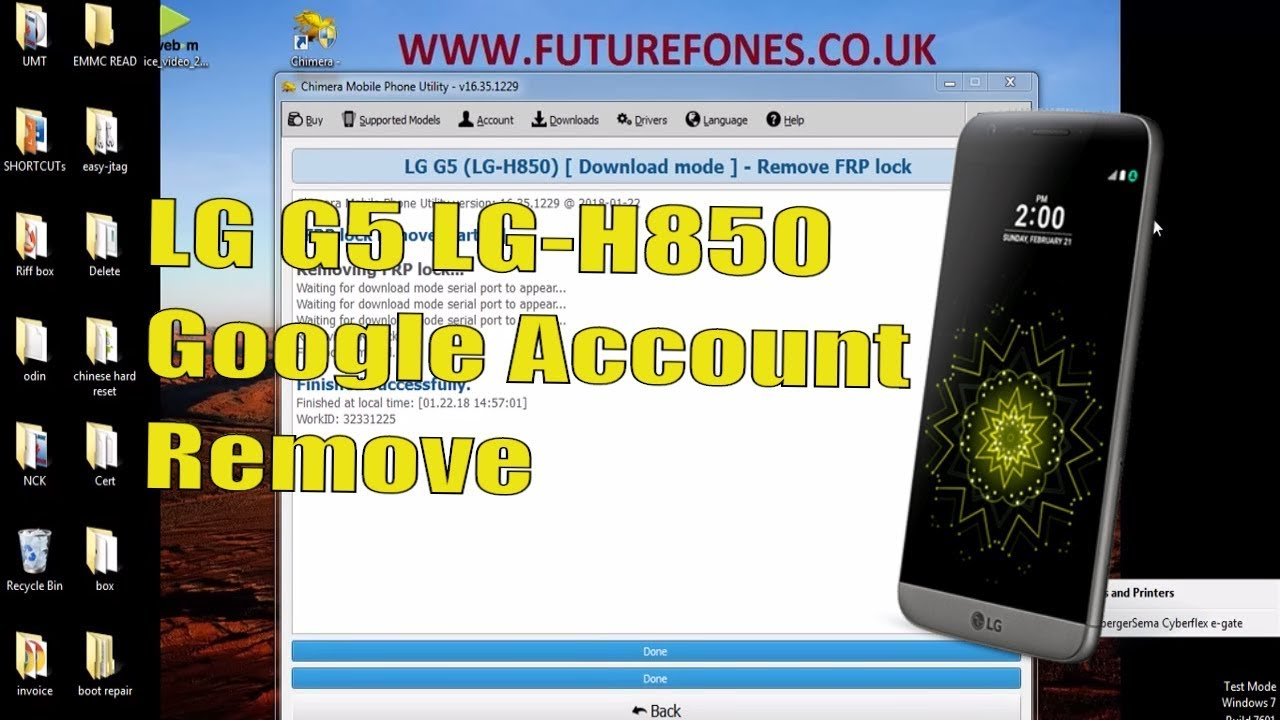 LG G5 LG-H850 GOOGLE ACCOUNT OR FRP REMOVAL WITH CHIMERA TOOL