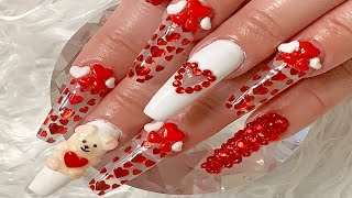 Teddy Bear Valentines Day Nails ❤️🧸 Encapsulated Red Heart Glitter🧸❤️ Acrylic Nails Tutorial
