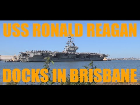 USS Ronald Reagan Docks In The Port Of Brisbane