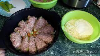 Перец фаршированный мясом ..с сыром..в духовке..😋👍