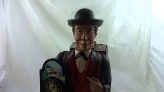 Whistling Man Carved Wood Shelf Clock