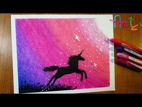 How To Draw UNICORN SCENERY With OIL PASTELS - EASY