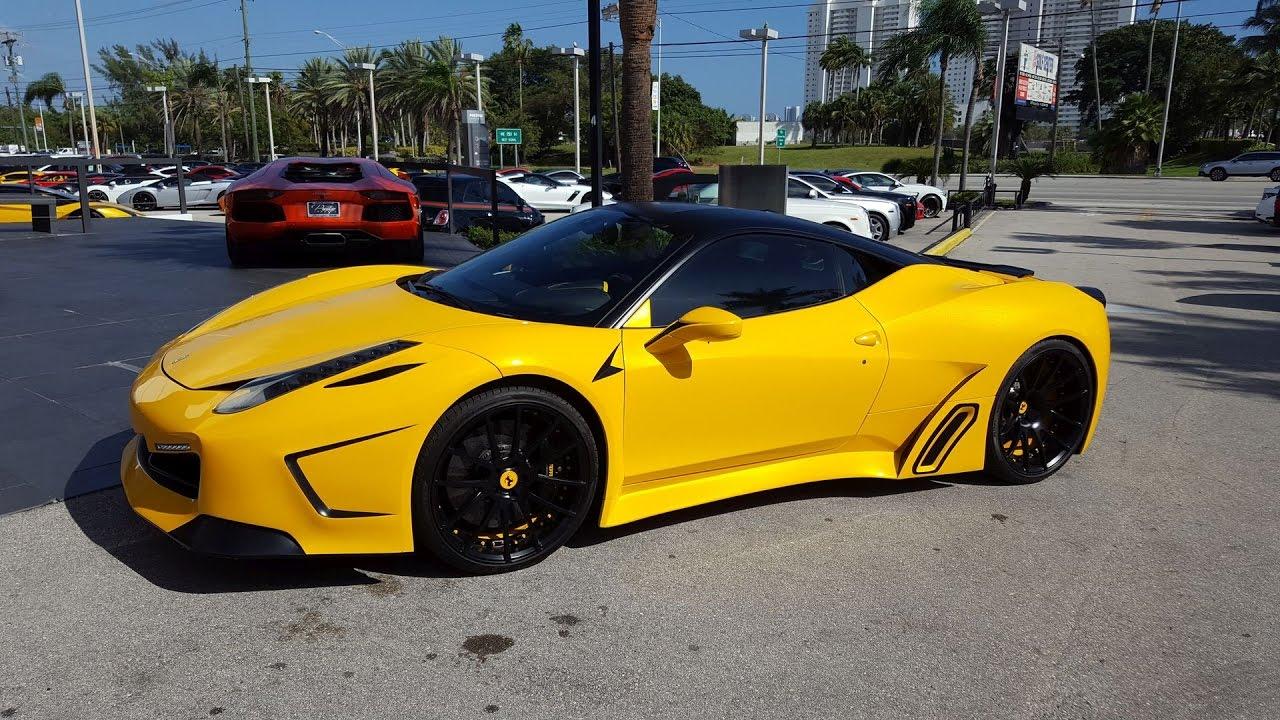 stunning yellow custom ferrari 458 italia start up and drive youtube