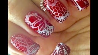 Lace Ombre - Valentines Day Nails