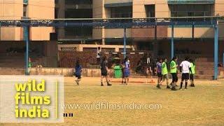 Girls practising soccer at Delhi Public School - Gurgaon