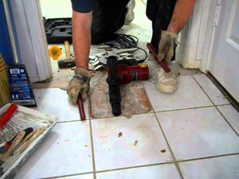 Harbor Freight Amp Demolition Hammer Vs Ceramic Floor Tile YouTube - Air chisel tile removal
