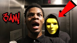 PLAYING THE CREEPY ELEVATOR GAME AT 3AM! *I SEEN THE BOY* (I KNOCKED HIM OUT!!!) Video