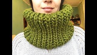 Простой легкий красивый шарф снуд крючком для начинающих имитация вязки спицами crochet scarf