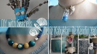 Deniz Kabukları ile Kendin Yap Choker Kolye , Küpe , Oda Dekorasyonu Şişe ~ DIY with Seashells