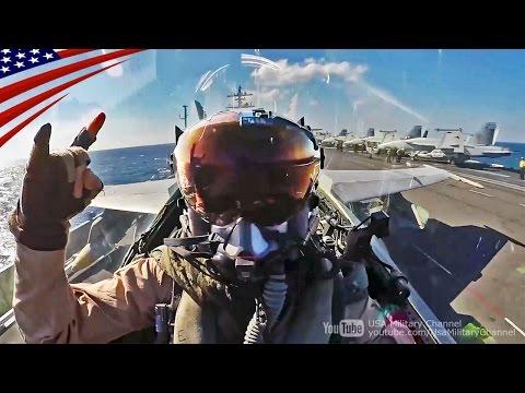 【大迫力】空母艦載機(F/A-18)のコックピット映像:カタパルト射出・着艦・超低空ローパス