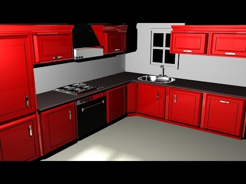 Maya 2014 tutorial : How to model a kitchen Part 3/4 - YouTube on Model Kitchen Design Images  id=95642