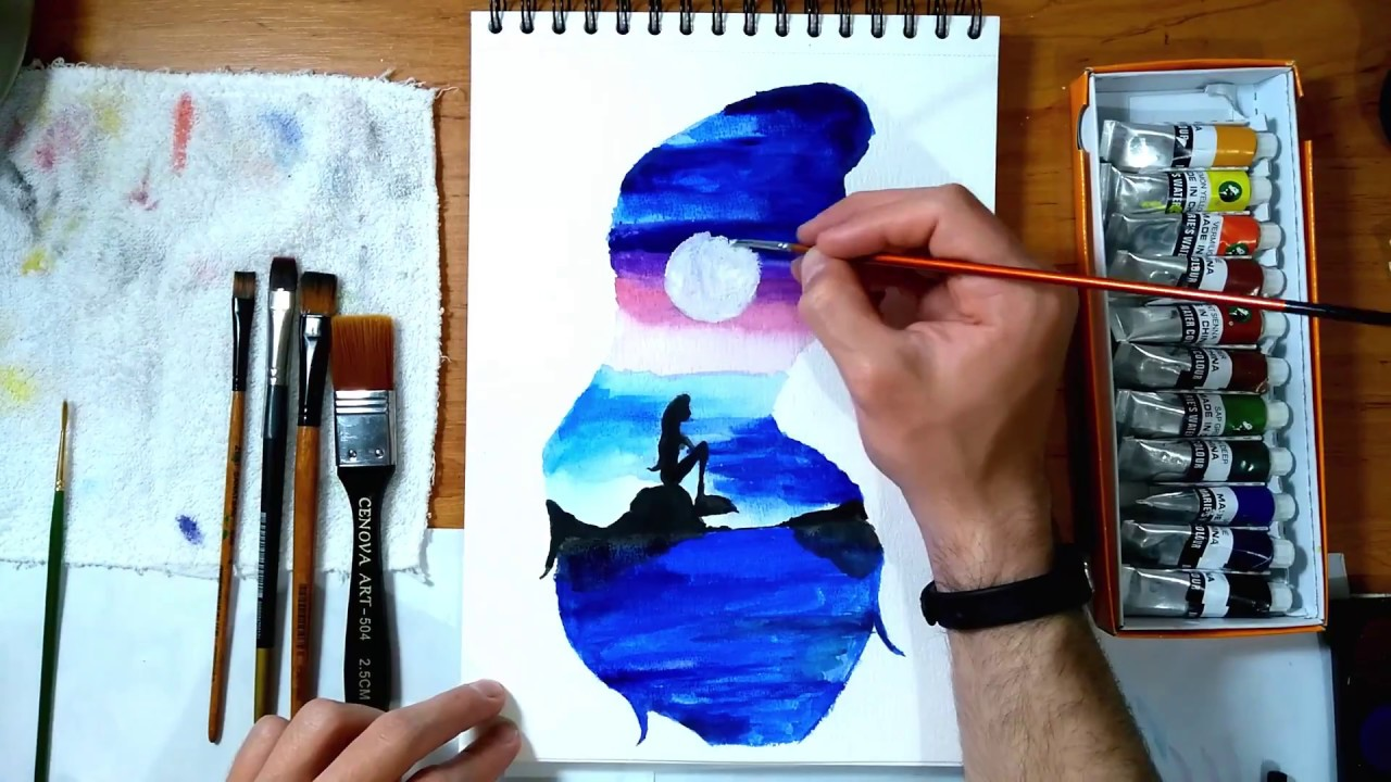 Deniz Kizi Suluboya Mermaid Watercolour Youtube