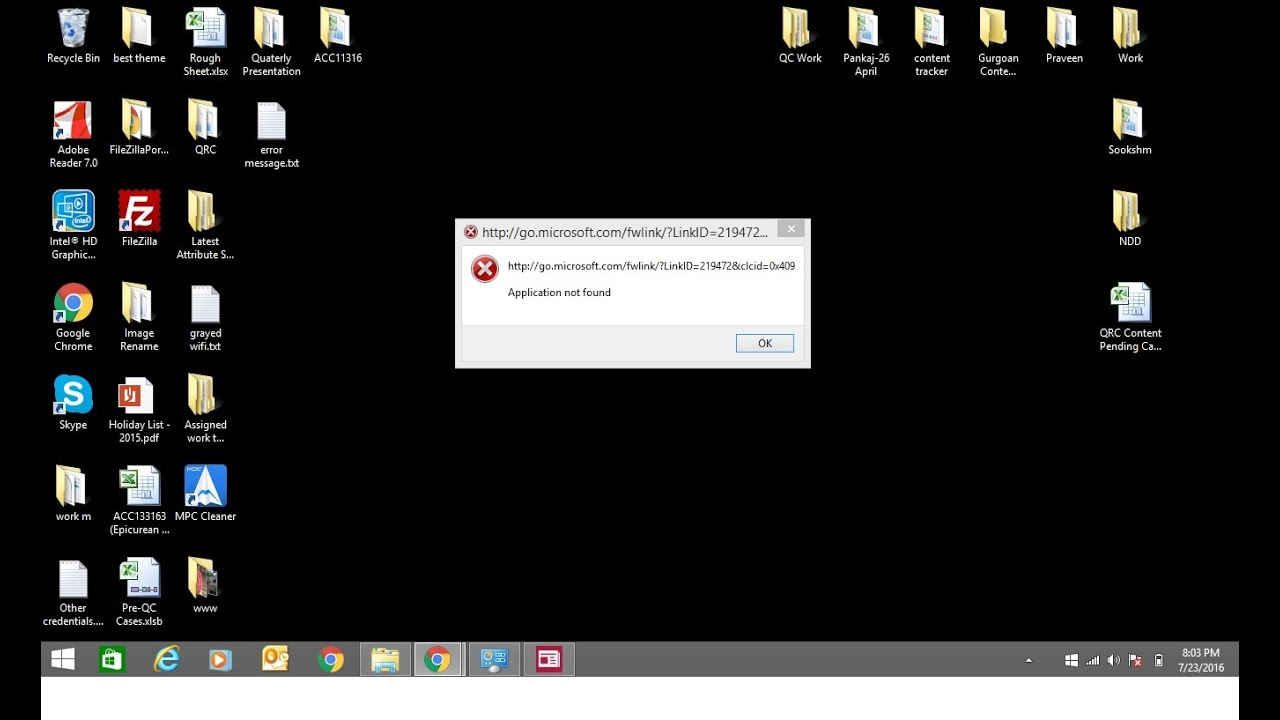 application not found error message on startup of windows 8  8 1  8 1 pro  1  10  solution