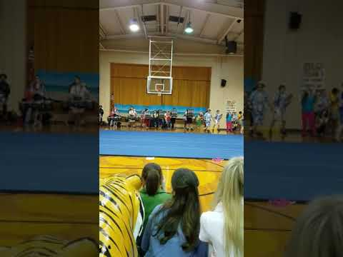 Northeast Jones High School Pep Rally - Cheerleader flips - August 25, 2017