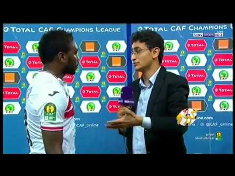 Emmanuel Mayuka's interview with Amr Fahmy after his equalizing goal for Zamalek Vs MS Alger