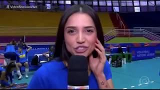 Paula Amorim acompanha treino das meninas da Seleção Brasileira de Vôlei (VideoShow)