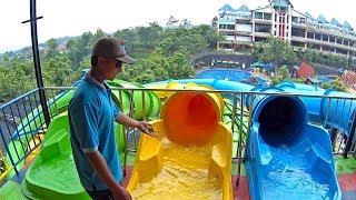 Yellow Tube Race water slide at Kediri Water Park in Kediri, Indone...