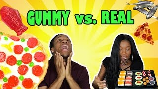 GUMMY FOOD vs REAL FOOD CHALLENGE! (GONE WRONG) HE THREW UP!!