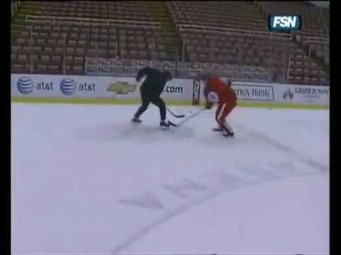 Pavel Datsyuk undresses Trevor Thompson