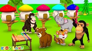 Funny Monkey Playing Outdoor Games to Learn Wild Animals Toys for Kids | Kids Toy Animal Molds