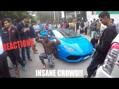 Crowd reactions as lamborghinis arrive during SUPERCAR event in INDIA   BANGALORE   #23