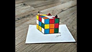 Drawing a 3D Rubik's Cube - 3D Trick Art On Paper - Art Maker Akshay