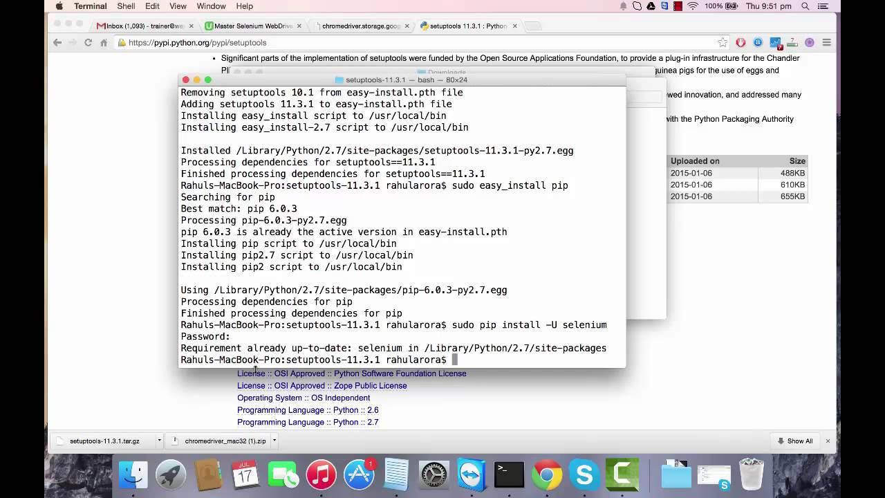 Selenium Python Tutorial - installing selenium on mac