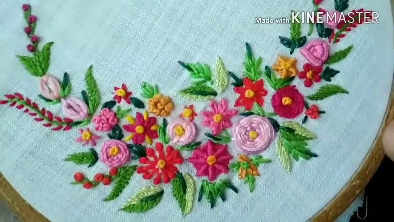 181 Flowers From Basic Embroidery Stitches Hindi Urdu Youtube