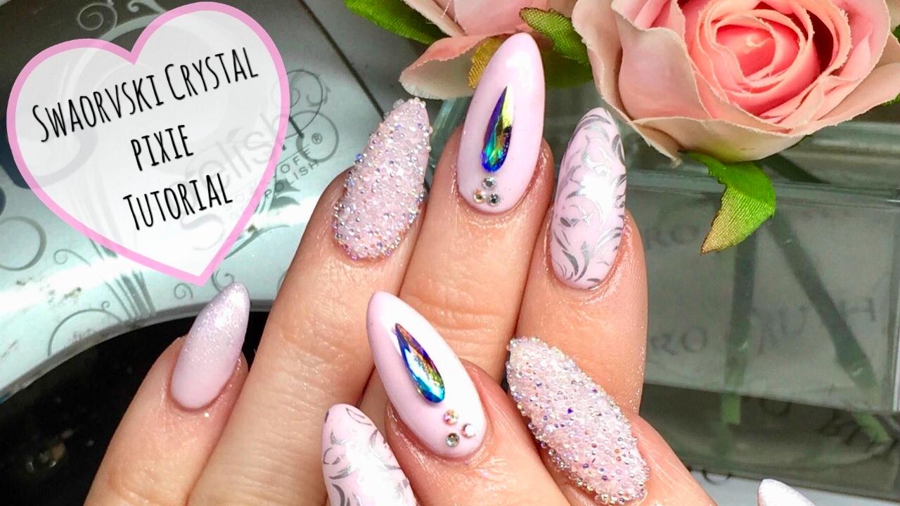 Swarovski Crystal Pixie tutorial 💫🦄💞 Princess Nail Art - YouTube