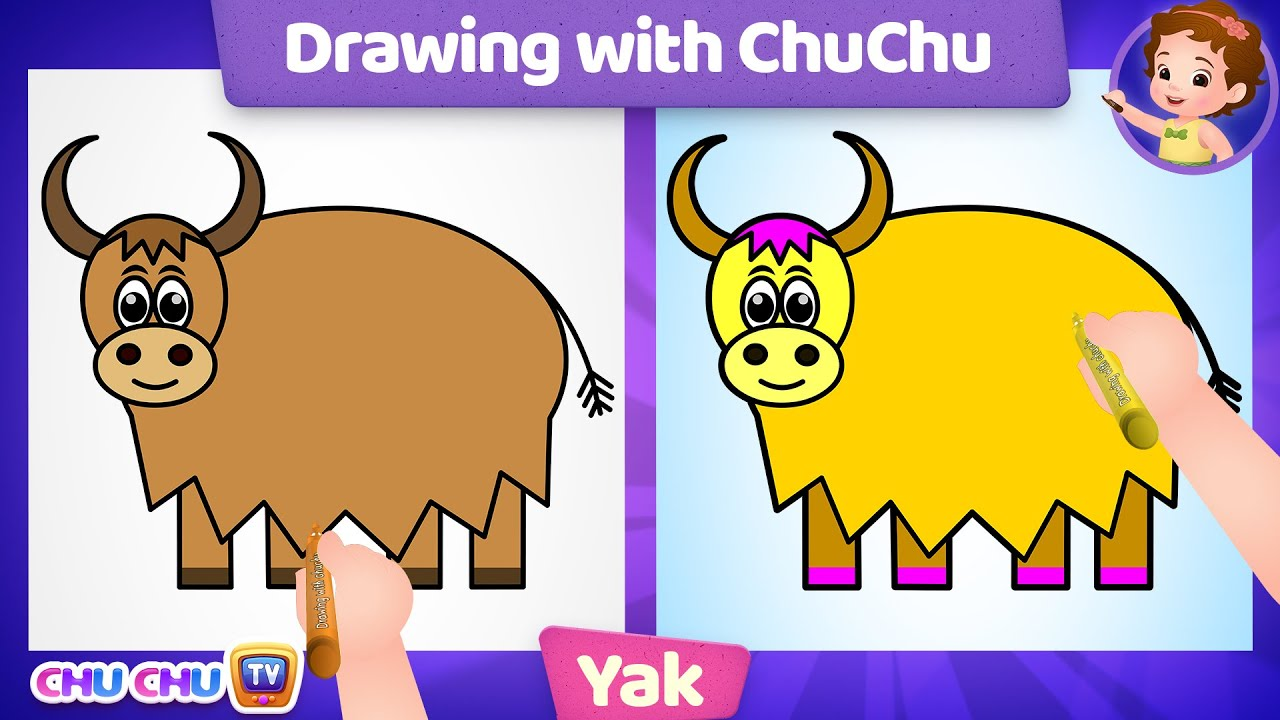 How to Draw a Yak Step by Step? - Drawing with ChuChu - ChuChu TV Drawing Lessons for Kids