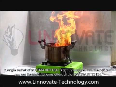 soteria kitchen fire extinguisher - cooking oil fire - youtube