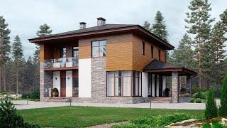 Проект дома в современном стиле. Дом с террасой, балконом и панорамными окнами Ремстройсервис М-385