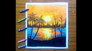 sunset  easy painting step by step ( using wax crayons colour)