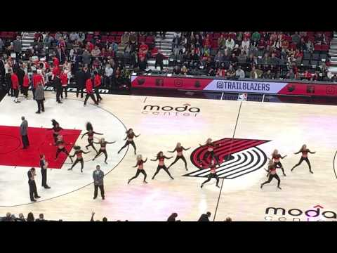 Player introductions and Blazer Dancers at Moda Center in Portland, Oregon October 13, 2017