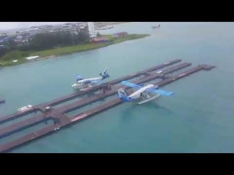 Maldives sea plane landing Male airport