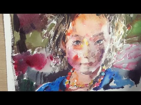 Watercolor Painting a Young Girl's Portrait