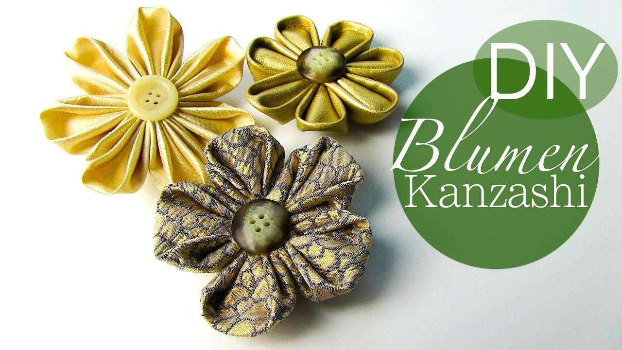 diy blumen kanzashi blumen aus stoff youtube. Black Bedroom Furniture Sets. Home Design Ideas