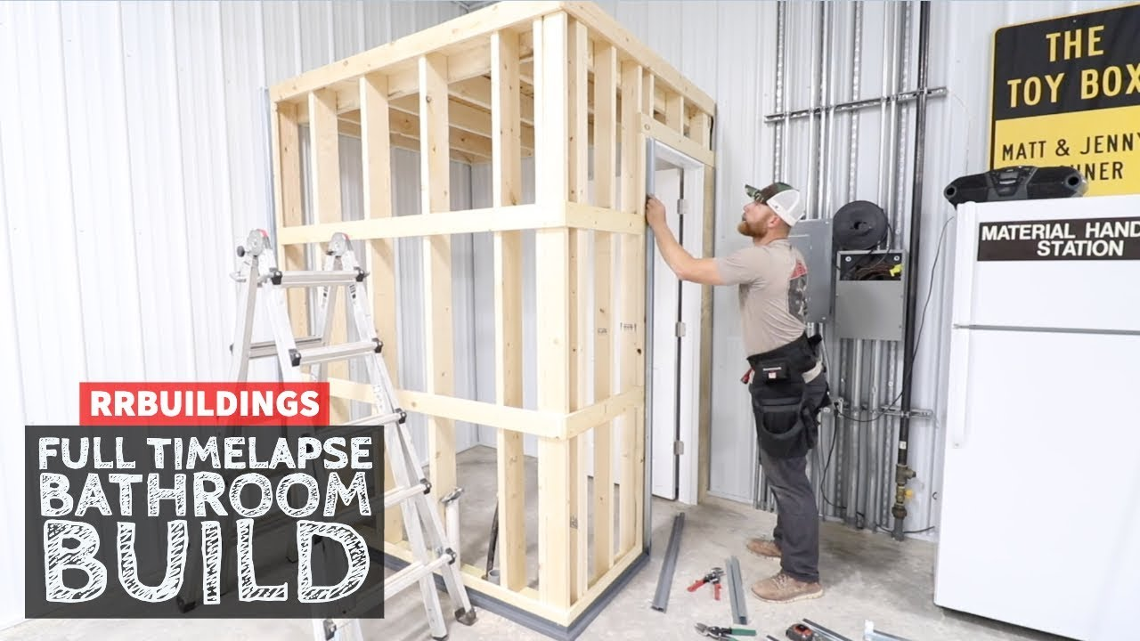 Building A Small Bathroom In The Garage Full Time Lapse Youtube
