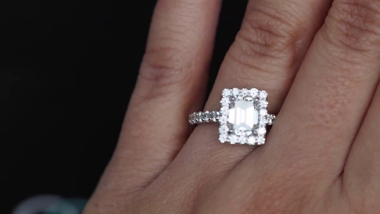 1 55ct Emerald Cut Diamond Engagement Ring With Halo