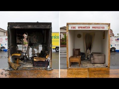 Fire sprinklers save lives, a side by side burn. 2 rooms set on fire.