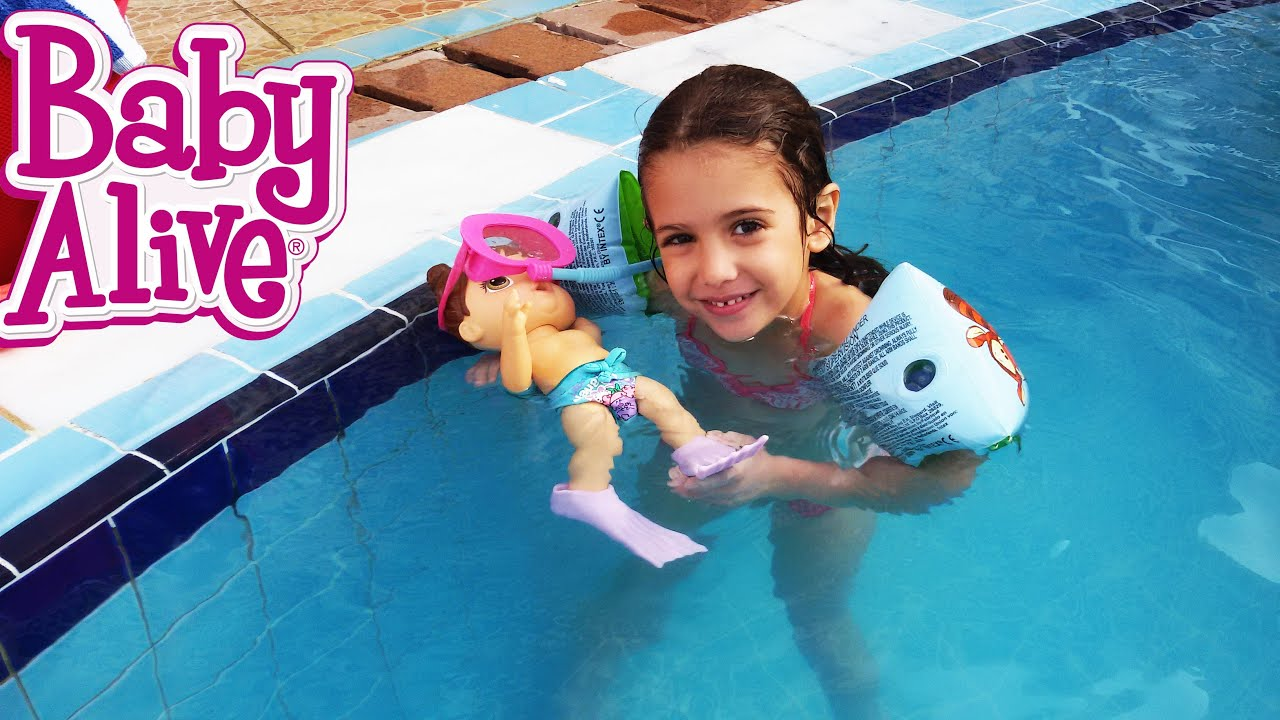 Baby Alive I Can Swim Real Swimming Baby Doll In Pool With Baby Alive Swim Accessories Youtube