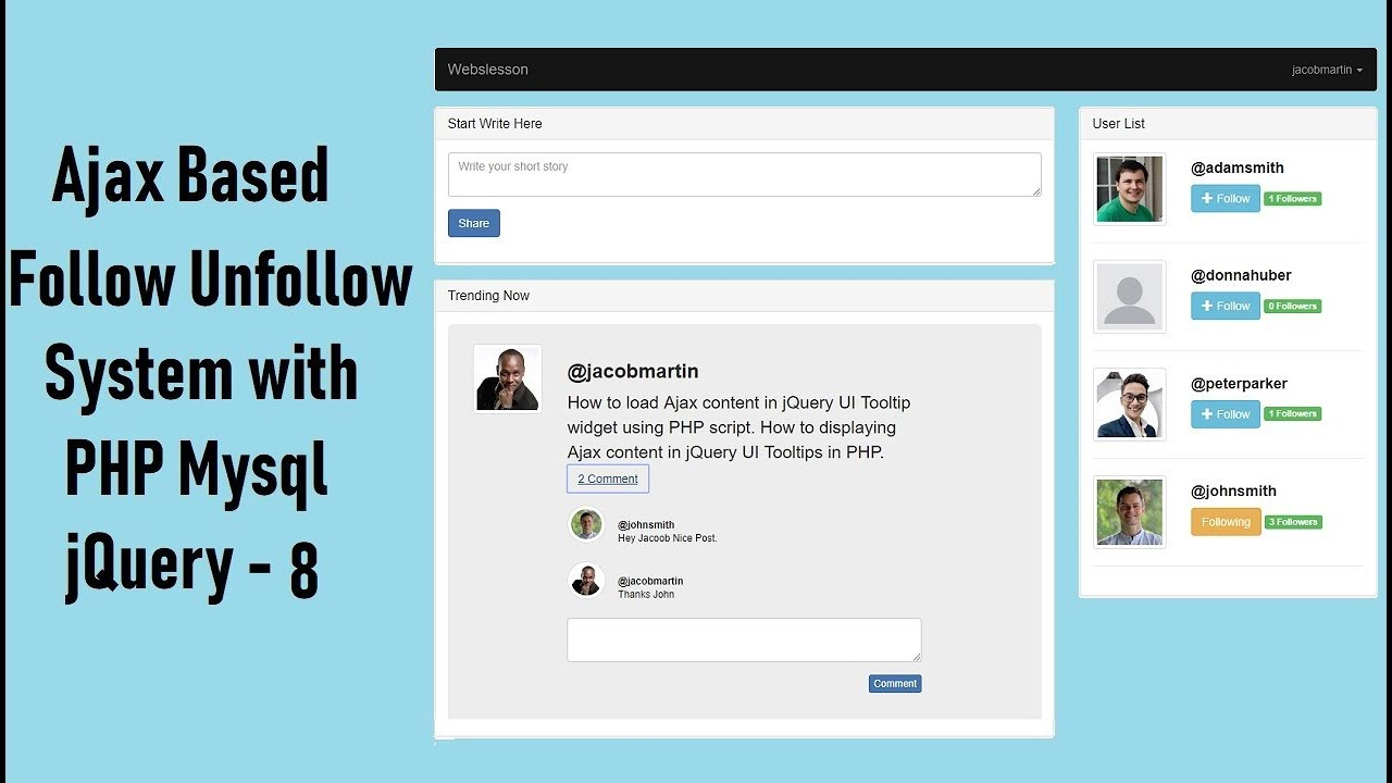 Twitter Like Follow Unfollow System in PHP using Ajax jQuery