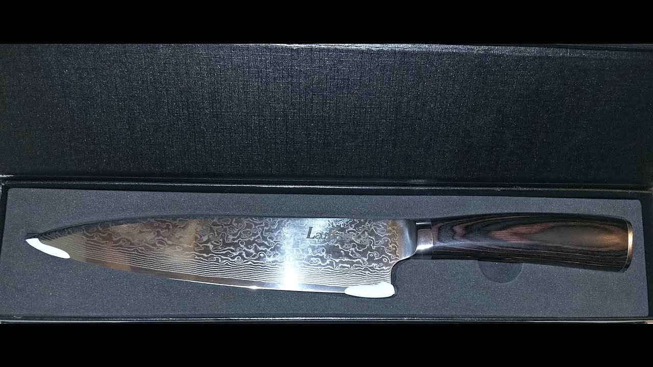 damascus steel chef u0027s knife unbox review product test youtube