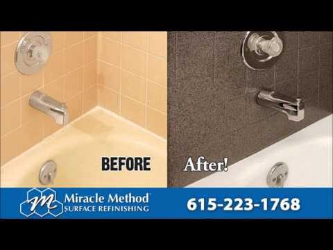 Tub Tile countertops I Bathtub Refinishing Nashville I Fiberglass Repair Miracle Method  YouTube