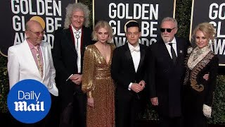 Rami Malek & Lucy Boynton joined by Queen at 2019 Golden Globes