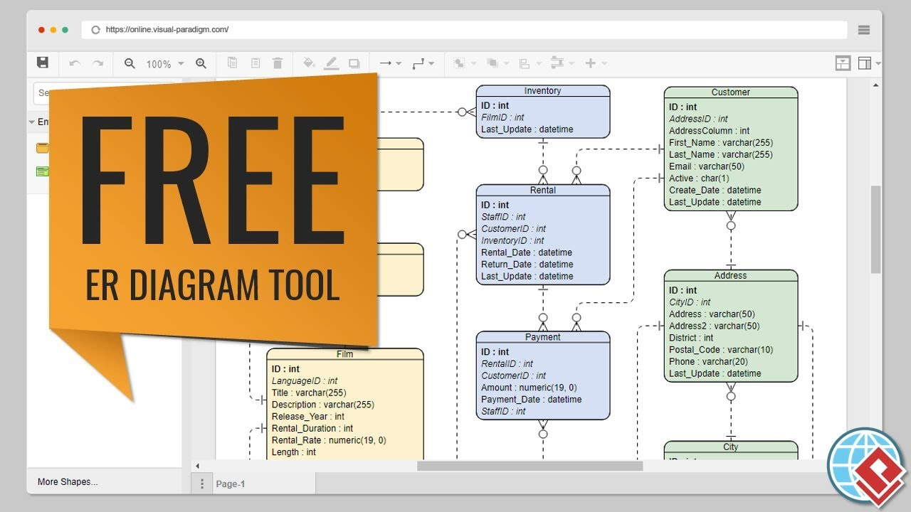 how to make an er diagram for database telecaster wiring 2 volume free erd tool youtube