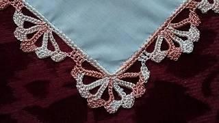 Салфетки, платочки. Обвязка края крючком. №7