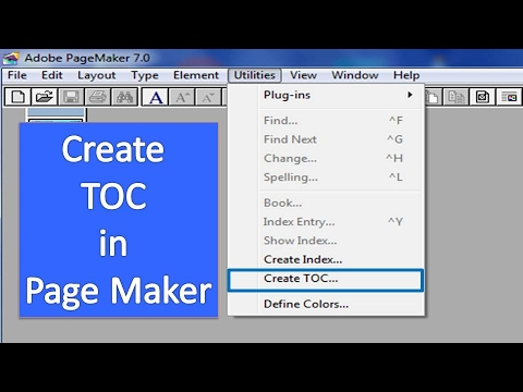 How to Create a Table of Contents in PageMaker - HINDI